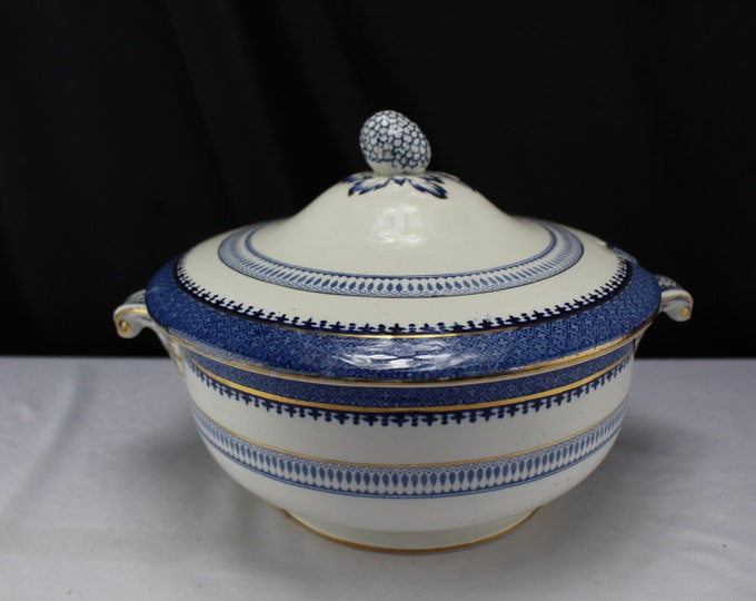 Vintage Booths Lowestoft Border Silicon China 1920 Rare Tureen Covered Bowl