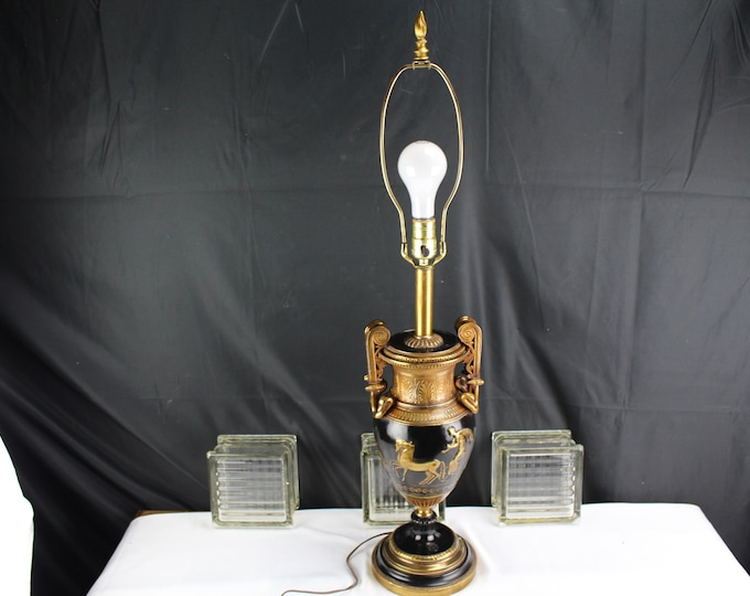 Mid Century Cast Spelter Gilt and Enamel Collection Française made in USA Gladiator Table Lamp