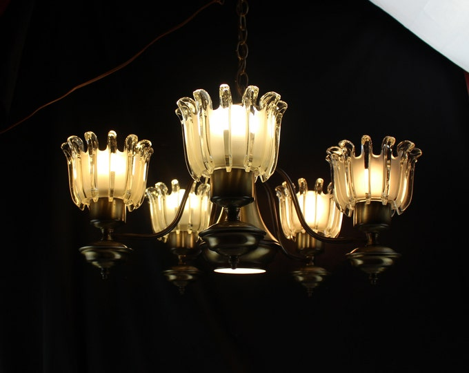 MCM Brass and Glass 5 Arm Chandelier Architecial Art Deco Frosted Glass Shades  Ceiling Fixture