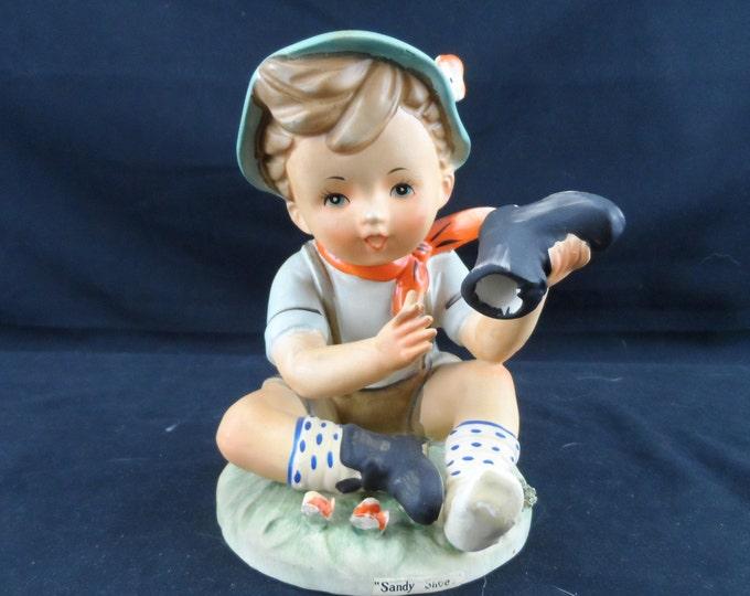 Erich Stauffer Sandy Shoes HP Figurine, Little boy blue shoe