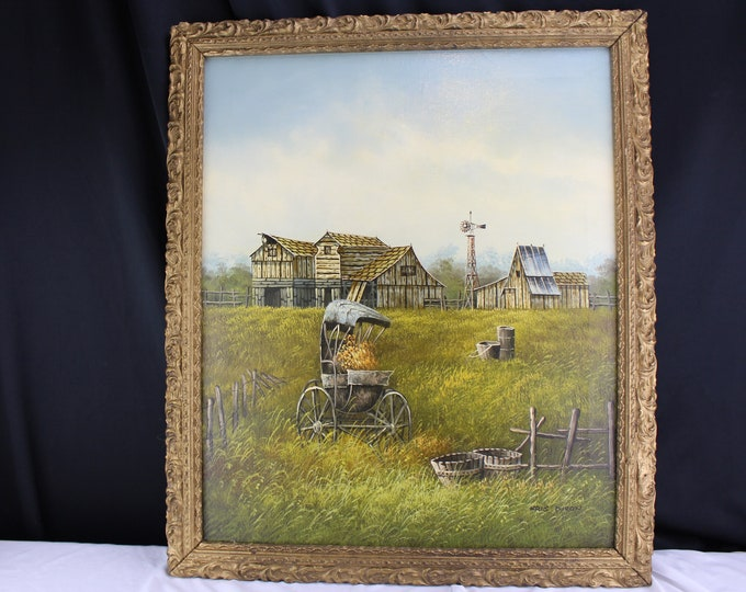 Oil on Canvas Painting Landscape Countryside Barns and Buggy Kris Dixon  Home Decor