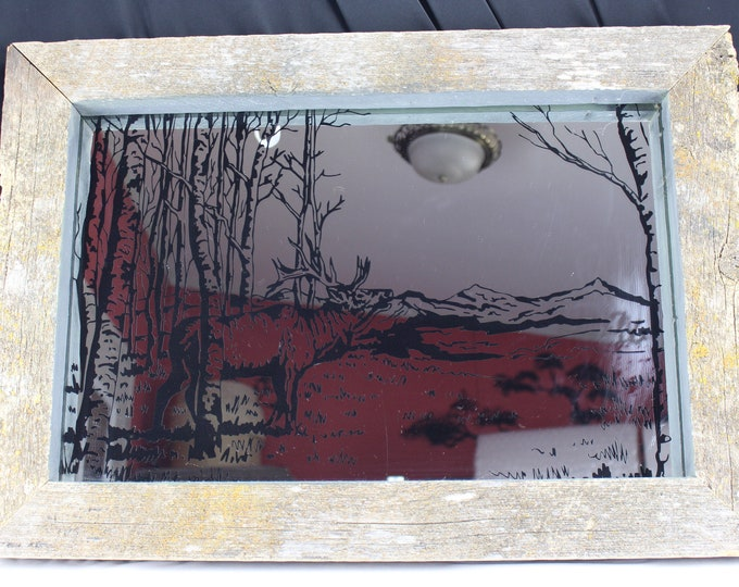 Vintage Lichens on Barn Wood Decorated Wall Mirror,-Bull Elk Aspens Image, Cabin Decor