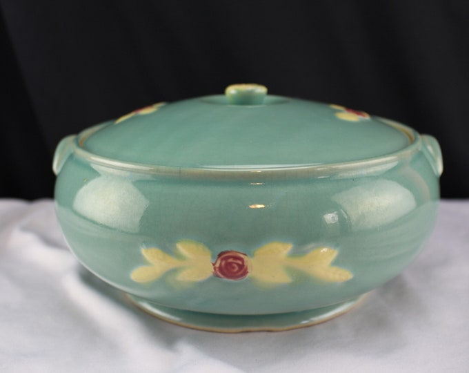 Vintage Coors Pottery Rosebud Covered Casserole in Teal Green