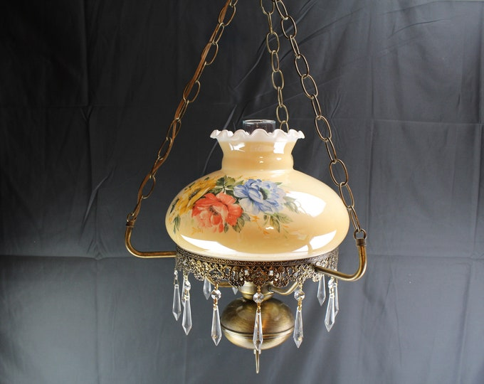 Vintage GWTW Style Hanging Swag Light 3 Roses Peach Shade Home Lighting and Decor
