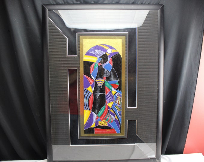 Painting Modern Art Cubism Abstract Nude Spanish Mix Medium Signed Bdo.oo.