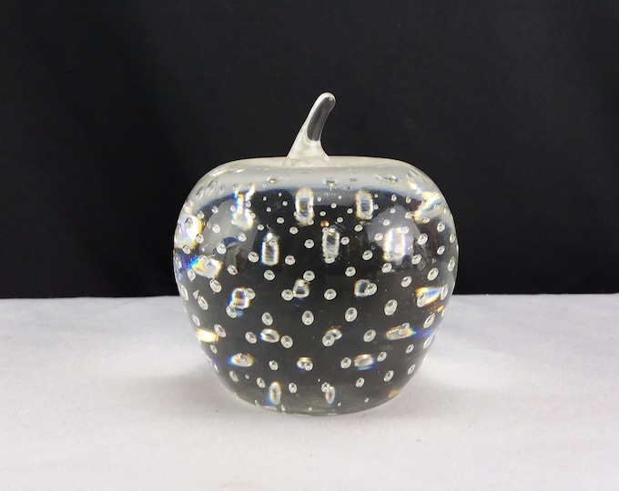 Controlled Bubble Clear Crystal Glass Paperweight Apple Figurine Office Decor
