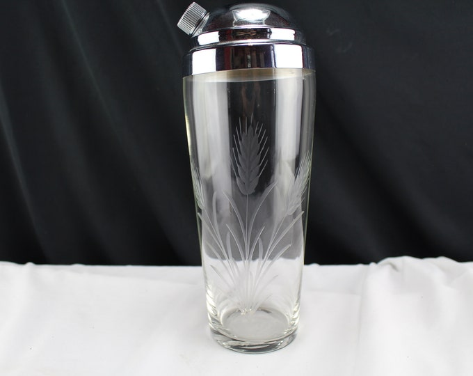 Cut Glass Cocktail Shaker Wheat Shafts Heads Stainless Lid Barware