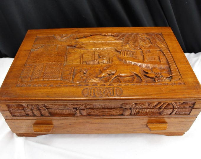 Vintage Carved Exotic Wood Asian Themed Artist, Jewelry/Trinket Box Made in Philippe 1940's