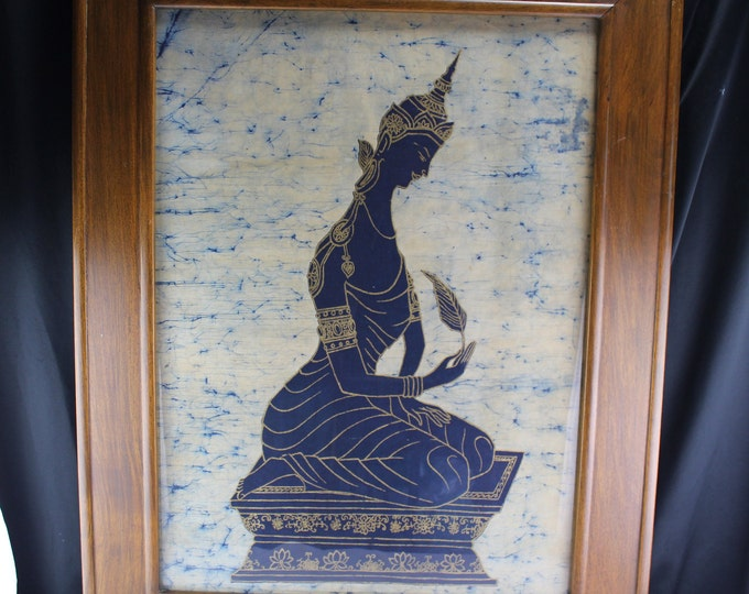 Vintage  Indonesian, Java, Batik Buddhist Painting On Cloth Royal/Kingly Figure