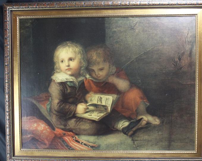 Antique Frame and Lithograph Children Reading Leberecht Vogel (1759-1816) Dresden Germany Large