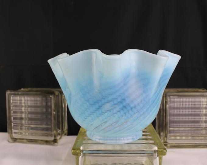 "Antique Art Glass Blue Opalescent Swirl Pattern Ruffle Oil/Electric Lamp Shade 4"" fitter x 9"""