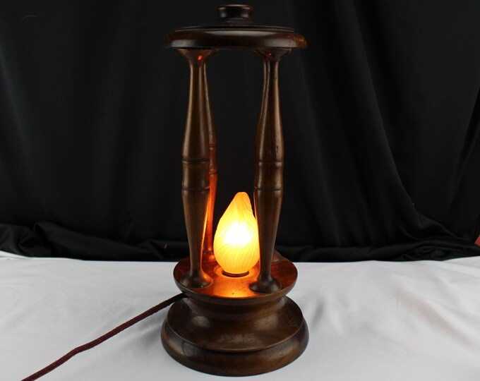 Antique Wood Electric Lantern/Lamp Edison GE Mazda Light Bulb-Home decor period lighting