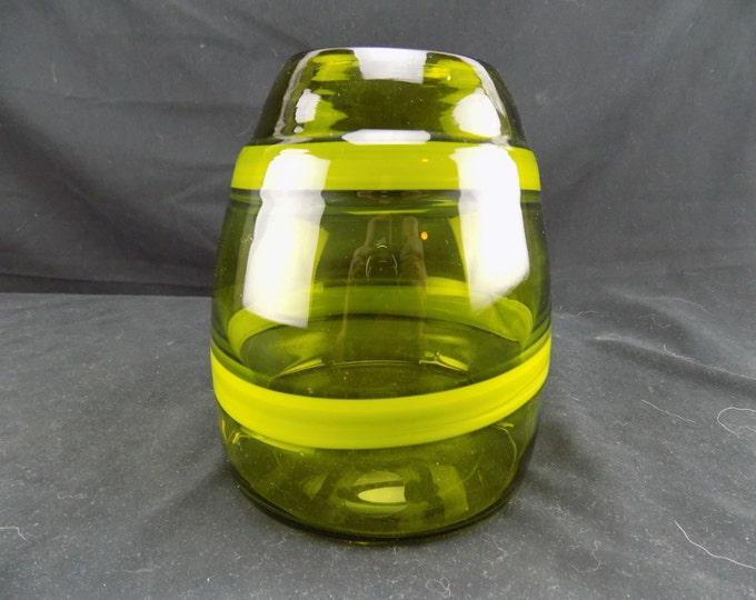 Avocado Green Transparent Blown Art Glass Vase