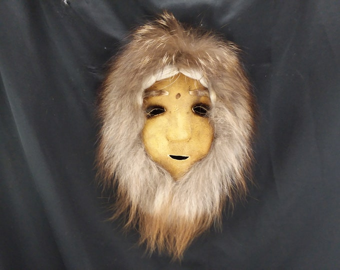 Vintage ALASKAN NUNAMIUT Anaktuvuk Pass Caribou Skin leather and  Fur MASK