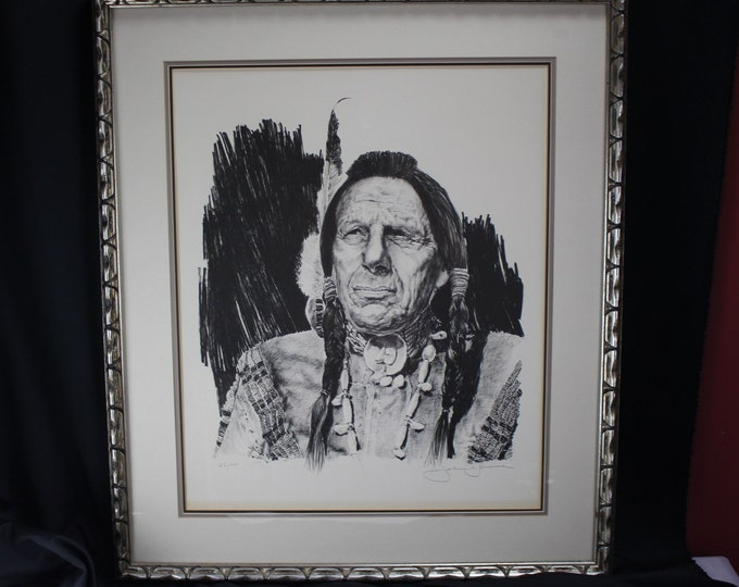 Limited # Print Western Artist John A Bruce Native American Actor Iron Eyes Cody aka Espera de Corti