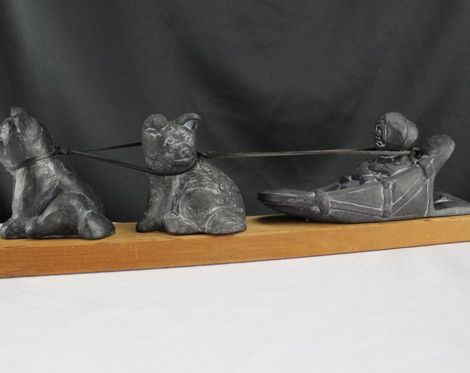 Handcrafted In Alaska Carved Stone and Wood Figurines Husky Dogs and Sled and Eskimo