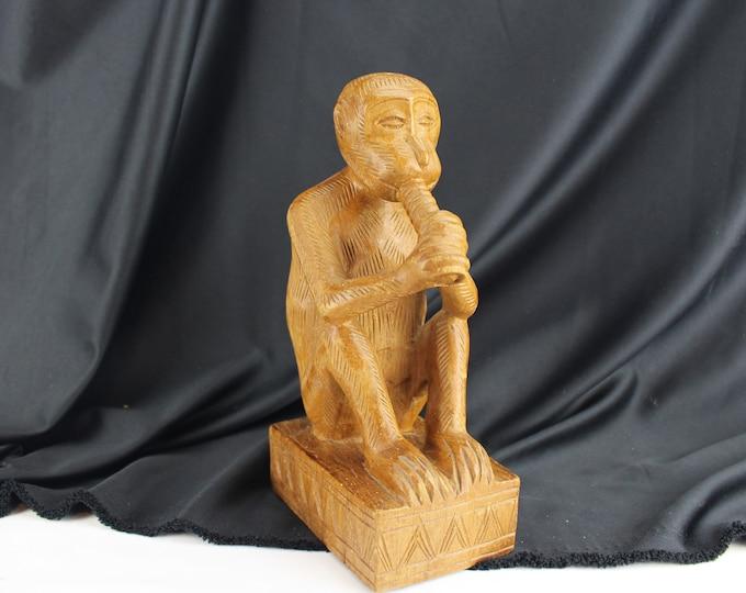 Carved Wood Monkey Figurine-Monkey Playing Flute