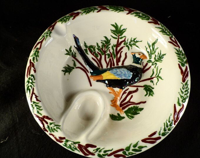 Pottery Ashtray-Pipe Tray-Pottery Pipe Holder and Ashtray-Pheasant-Handmade Pottery ashtray with a Pheasant and Foliage marked Mackey
