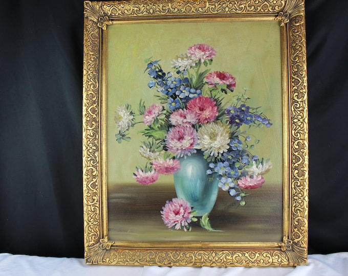 Oil on Canvas Painting Still Life-Vase Flowers-Signed Green Mid Century Home Decor