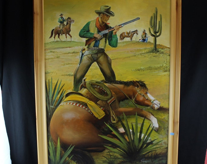Oil Canvas Painting Western Pop/Cover Art-Mexico- Artist J Espinosa Illustrator