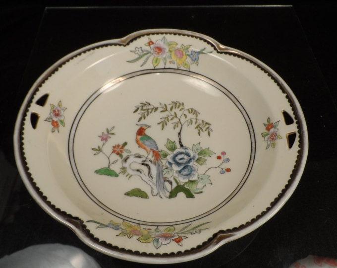 Noritake Porcelain Bowl-Pheasant Bowl-Vintage  Noritake Morimura Japanese Hand-painted Bowl with Cut-out Handles #37527