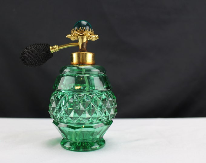Vintage Pressed Green Glass Perfume Atomizer Bottle Cabochon