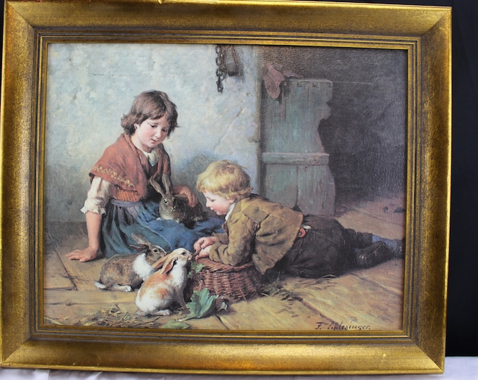 Vintage Original Oil Replica Feeding the Rabbits by Felix Schlesinger Wall Decor Wall hanging