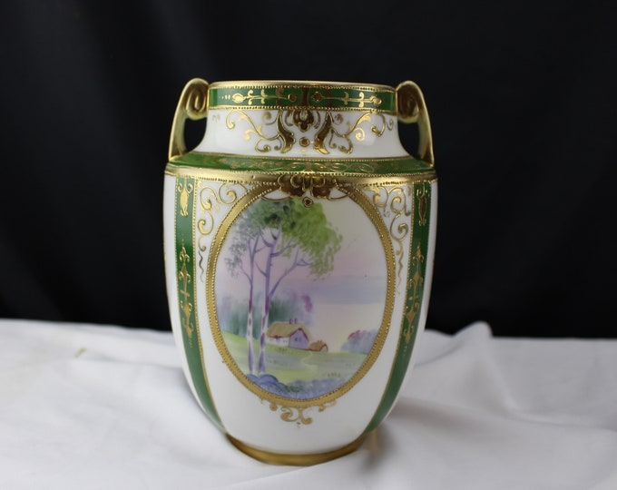 Antique Nippon Hand Painted Two Handled Vase Countryside Landscape Green and Gold
