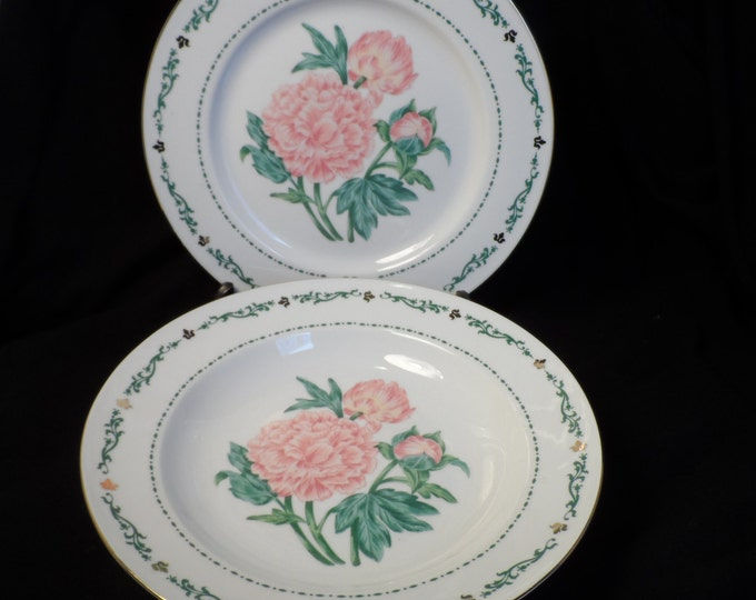 Poney Plate & Bowl-Peony China-Matching Plate and Bowl-Domestication's