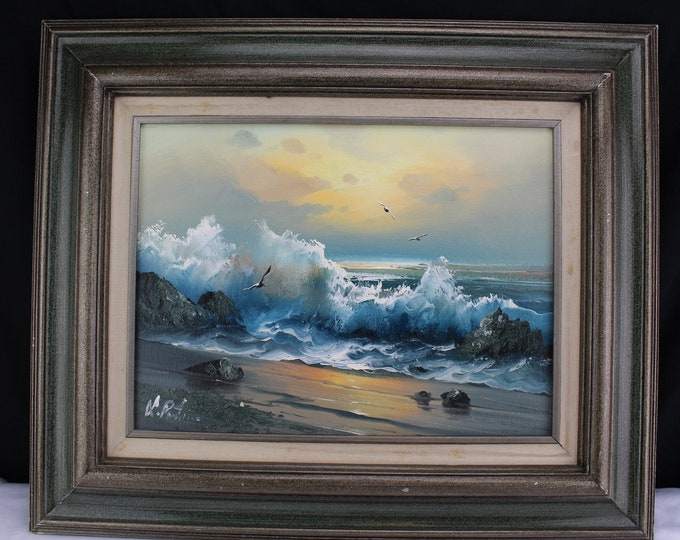 Oil on Canvas Painting Seascape Seashore Crashing Waves Signed Portman