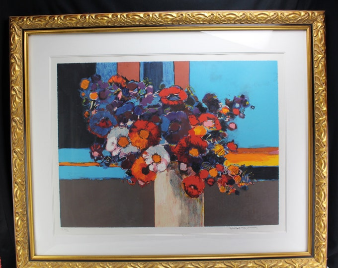 Fine Art Jean Claude Allenbach Original Lithograph S/N Large Gallery Framing Floral Large