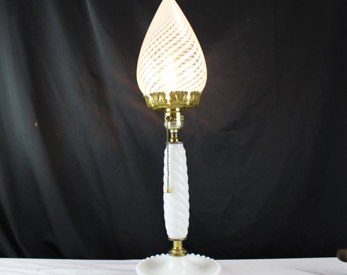 Mid Century Candlestick Milk Glass Bedside Table Lamp with Twisted Stem Murano Latticino Art Glass Globe 1960's