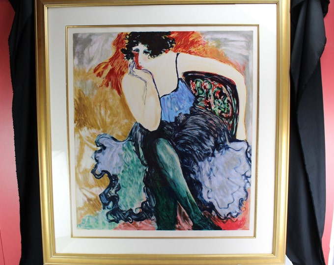 "Serigraph Fine Art Barbara A Wood ""In the Wing"" 236/350 Woman, Impresinosium 1995 Large"