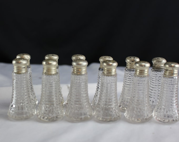 Vintage Sterling Silver and Crystal Individual Salt and Pepper Shakers 6 Sets Wedding Table Decor