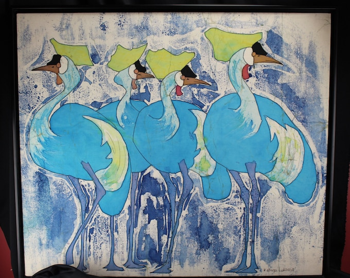 "Vintage Batik Painting On Cotton Wading Birds Framed Signed 32"" x 36"" Islander Art"