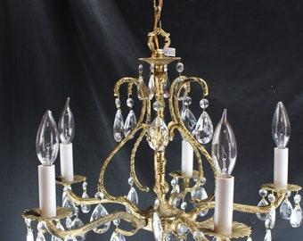 Vintage Brass And Crystal Candelabra 5 Light Chandelier Ceiling Home Decor