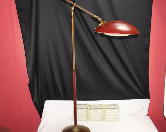 GERALD THURSTON Articulating Floor Lamp, 1950's MCM Design Oxblood Red Brass Home Lighting