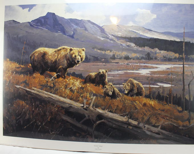 """Luke Frazier Hand signed & Numbered Limited Edition Print:""""Fertile Valley"""" Bears"""