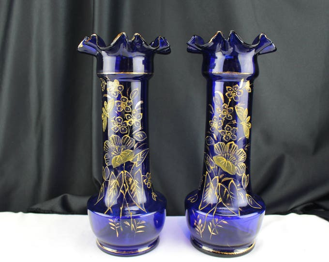 Antique Bohemian-Cobalt Blue Mantle Vases with Gold Applied Enamel 1850