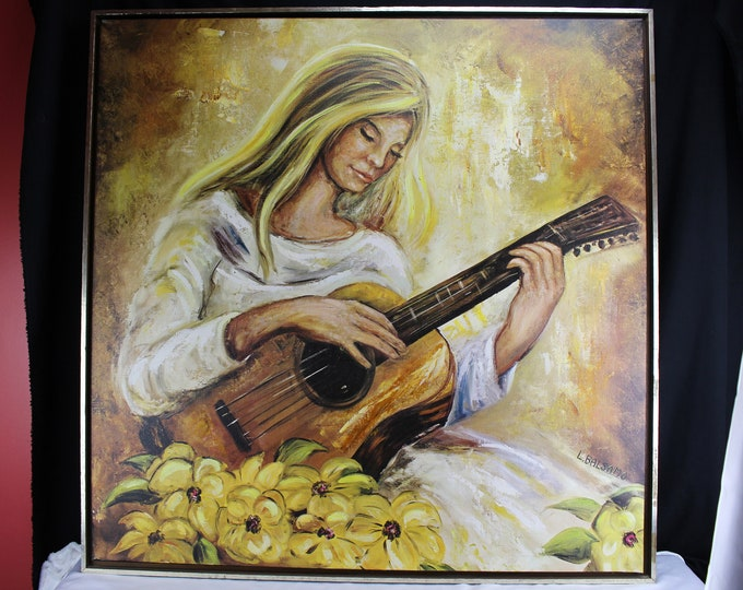 "Woman Playing Guitar Lillie""  L. Balsamo Artist Quality Print Giclee Large Sofa Sized"