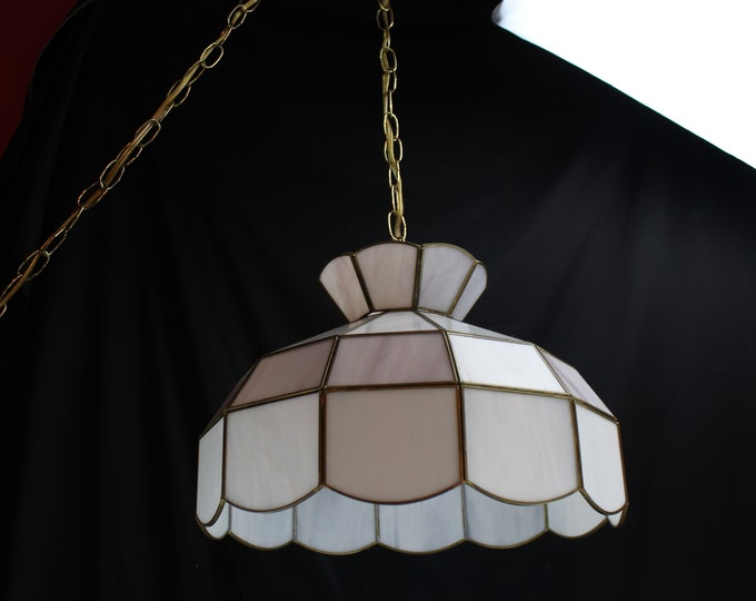 Vintage Tiffany Style Leaded Stained Glass Hanging Light-Lamp Shade-Swag Pendant Lighting-Home Decor