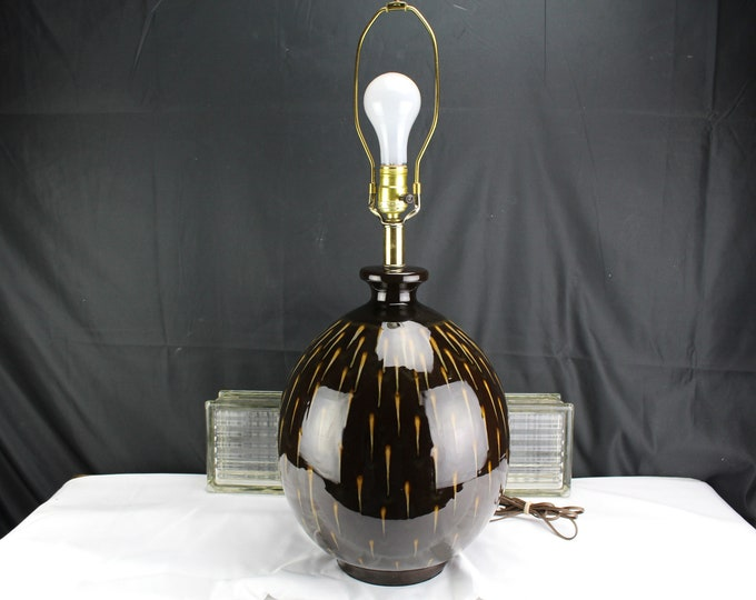 Mid Century Pottery Drip Glaze Brown and Yellow Table Lamp Home Lighting and Decor