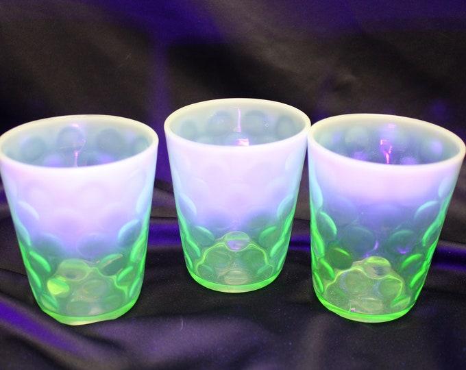 Antique Vaseline Green Opalescent and Dots Short Rocks/Juice Glasses