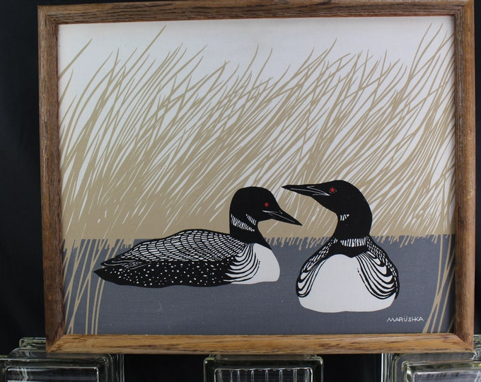 Vintage MARUSHKA Diving Ducks Fabric Silk Screen Print Framed MCM Pop Art