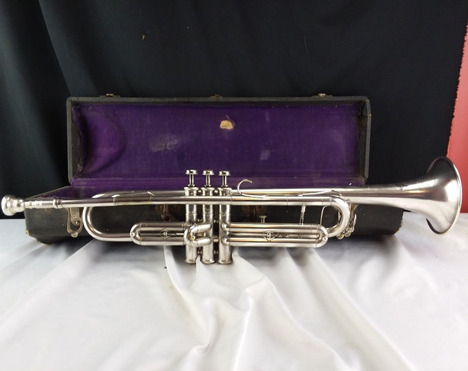 1940's Continental New York Trumpet Nickel Silver W/Case Working Condition