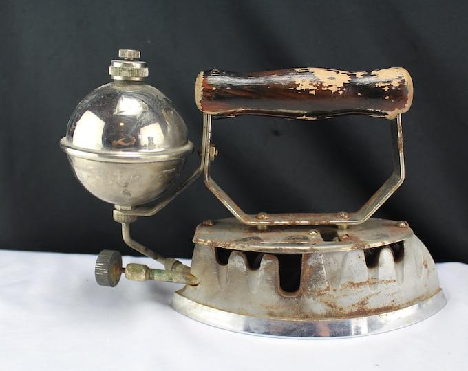 Vintage Antique Clothing Gas Iron Wood Handle Montgomery Ward Chicago Rustic Decor, Laundry Iron, Door Stop