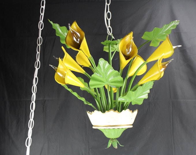 Mid Century  Tole Chandelier/Swag Light Fixture Made in Italy Yellow Calla Lilies