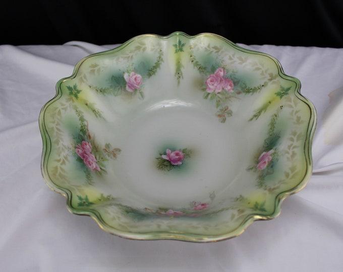 Antique-Porcelain Serving Bowl-RS Prussia Porcelain-Pink Rose Applied Gold Green Border 1800-1917