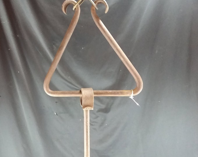 Authentic Primitive Blacksmith Hand Made Wrought Iron Ranch/Chuckwagon Dinner Triangle/Bell