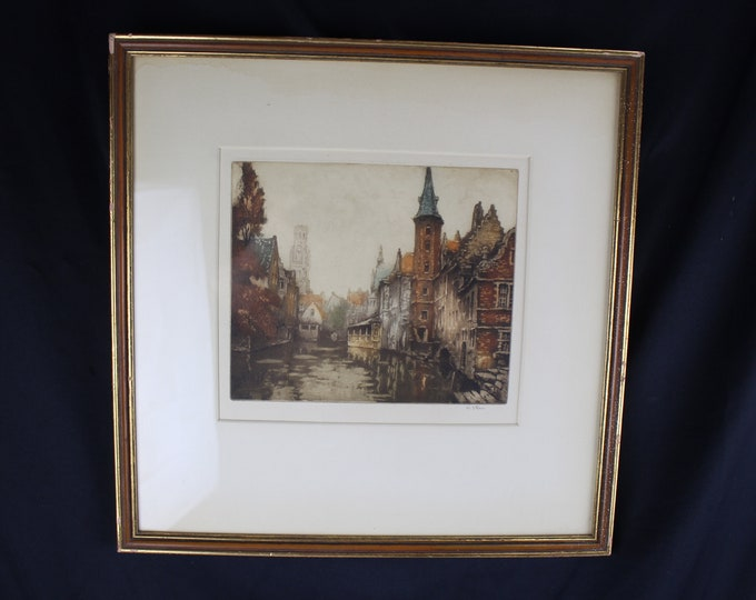 Antique Hand Tinted Etching Flemish Berges Framed Art Wall Decor